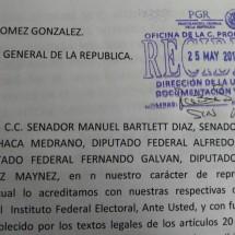 LEGISLADORES FEDERALES PRESENTAN DENUNCIA ANTE LA PGR CONTRA EL MANDATARIO ESTATAL
