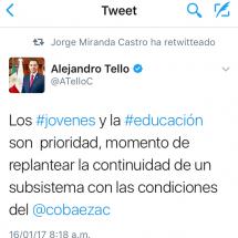 NECESARIO REPLANTEAR CONTINUIDAD DEL COBAEZ: ALEJANDRO TELLO