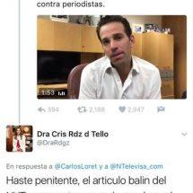 """NIEGA CRISTINA RODRÍGUEZ AUTORÍA DE """"TWEET"""" CONTRA CARLOS LORET DE MOLA"""