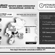 🔴 LLEGA A 125 EL NÚMERO DE CASOS POSITIVOS DE COVID-19 EN ZACATECAS